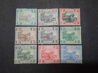 Federated Malay States 1901-1931 Tiger 1c To 12c - 9v Mint Malaya Stamps