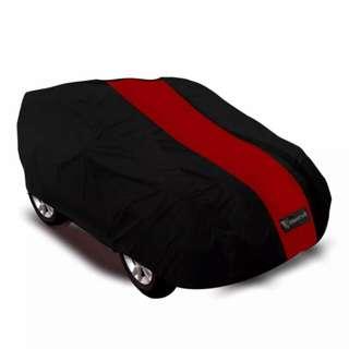 Mantroll cover mobil hitam list merah