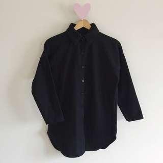 🚚 黑色毛呢長版襯衫外套