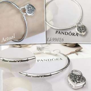 Pandora Flourishing Heart Padlock Bangle