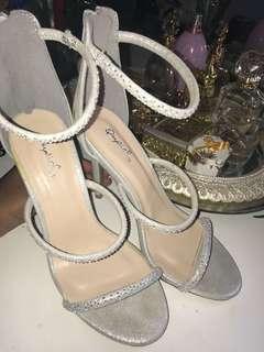 White Sparkly 3 strap Heel
