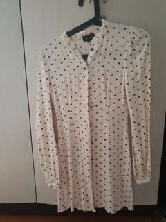 Topshop Polka dots button down dress