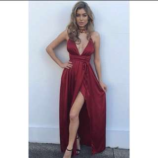 Wine red ball dress
