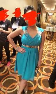 Green knee length dress/gown