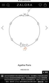 Agatha,水晶 金色狗仔手鏈,銀手鏈