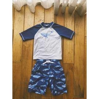 🚚 Janie & Jack 游泳沙灘套組 防曬衣+沙灘泳褲 (2T)