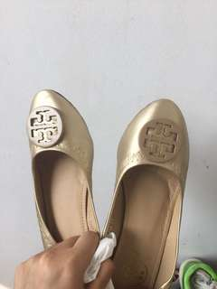 Tory Burch golden shoes with box