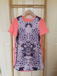 Floral fluro tshirt shift dress