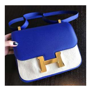 Authentic Hermes Constance 24 Epsom Blue Ghw