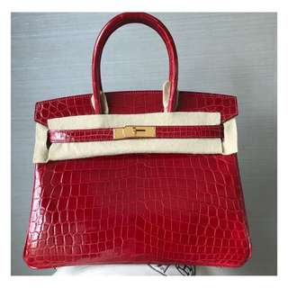 Authentic Hermes Birkin 30 Red Crocodile Ghw