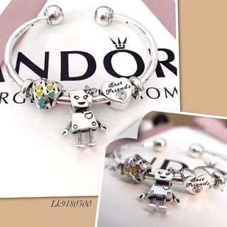 Pandora bangle with 3 charms