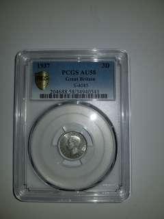 UK 3 pence 1937 silver PCGS AU58