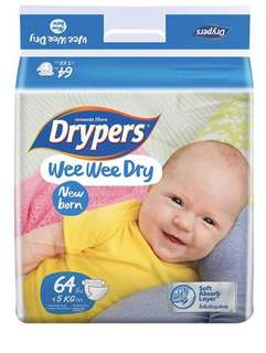 Brand new drypers new born size 64pcs