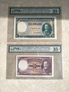 2 PCS 1931 STRAITS SETTLEMENTS KING GEORGE V $5 & $10 PMG GRADED