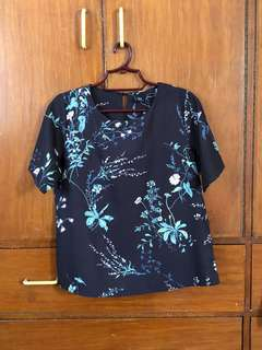 Bayo dark blue floral blouse
