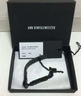 Ann Dem Demeuleemester Black Leather Bracelet