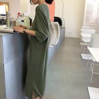 IOZ 慵懶舒服銅氨棉!短袖長T衣裙