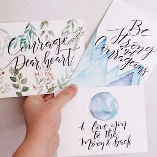Valentines Day Calligraphy Cards