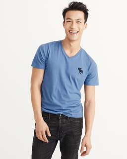 AUTHENTIC A&F Big Icon V Neck Tee M Size <<BLUE>>