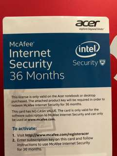 McAfee Internet Security for 3 years