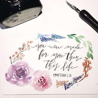 Modern calligraphy card