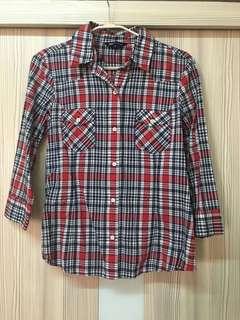 🚚 Net 格紋七分袖襯衫