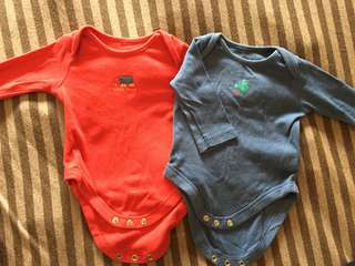 Mothercare long sleeve rompers