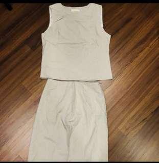 🚚 韓版 全新 米色 杏色 兩件式套裝 洋裝 M