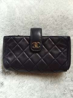 CHANEL Lambskin Quilted Mini Phone Holder Clutch