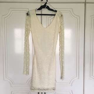 Forever 21 Cream Lace Open Back Dress