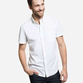 Grana Men's French Poplin Short Sleeve Shirt (White)