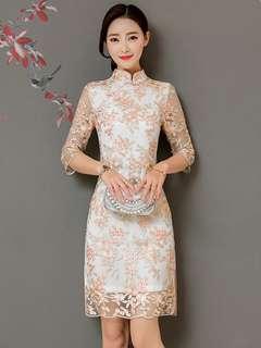 Cheongsam: Korean Stylish Stand Collar Floral Embroidered Cheongsam (S / M / L / XL) - OA/MKE011920