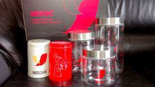 Nescafe limited edition cookie glass containers + 2 tins #listforikea