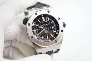 Audemars Piguet Royal Oak Offshore Diver 15710 Stainless Steel Black Textured on Black Rubber Strap