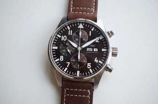 IWC Schaffhausen Pilot Chronograph IW377713 Stainless Steel Case Brown Dial on Brown Leather Strap