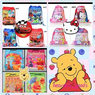 4X WINNIE THE POOH/DISNEY CARS/HELLO KITTY/ACCESSORIES BAG/CHILDREN CARTOON BACKPACK/UNISEX BAG/GRABBAG/PARTY PRESENT GIFTS