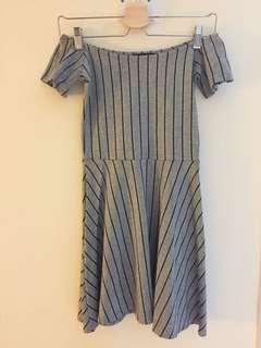 MDS Collections Stripe Off Shoulder Dress