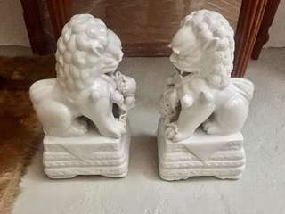 Large Porcelain Lions Pair