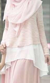 (FREE Postage) ZALIA Layered Dip Hem Long Sleeve Shirt-Pink