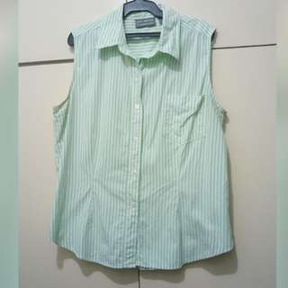 WA694 Lara Leigh Mint Green Stripes Sleeveless Blouse (see pics for Measurements)