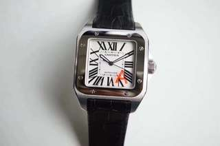 Cartier De Santos W20073X8 100 Men Size 38 mm Stainless Steel New Version White Dial on Black Leather Strap