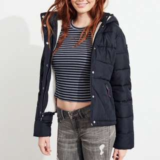 HOLLISTER Puffer jacket with hoody and Sherpa lining