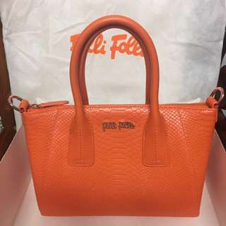 Folli Follie 經典橘色皮革手提/側背包