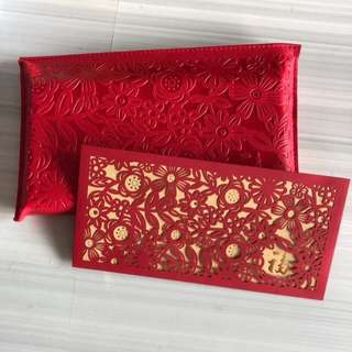 Red packets with Leather Pouch - Standard Chartered