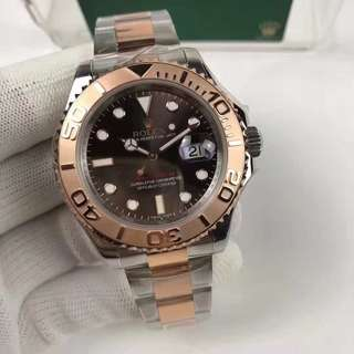 Rolex Yacht-Master 116621 Two Tone Stainless Steel Pink Gold 2016 Brown Dial on Two Tone Bracelet