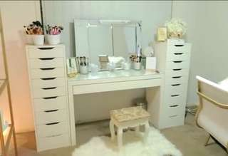 Vanity station (table, drawers, mirror and stool)