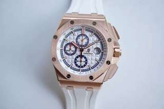 Audemars Piguet Royal Oak Offshore 44mm 6408OR.OO.A010CA.01 Summer Edition 2017 18k Rosegold Case on White Rubber Strap