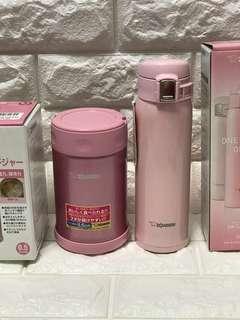 Nice pink bundle: zojirushi 500ml food jar & 480ml mugs