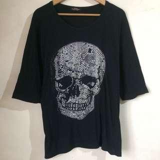 Alexander McQueen Inspired Skull Black Loose Top