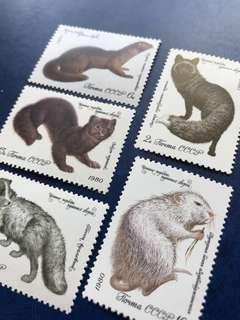 只限兩套 1980 蘇聯 短毛動物郵票5全